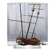Grounded Ship In Frozen Water Shower Curtain