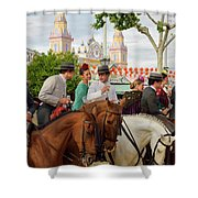 Group Of Couples On Horseback Drinking And Partying At The Sevil Shower Curtain