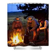 Group Of Cowboys Around A Campfire Shower Curtain