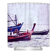 Group Of Fishing Boats Shower Curtain