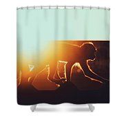 Group Of Macaque Monkeys On The Rooftops In A Urban City Environment Shower Curtain