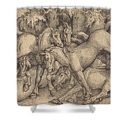 Group Of Seven Horses In Woods Shower Curtain