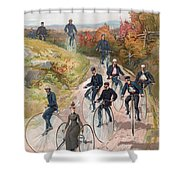 Group Riding Penny Farthing Bicycles Shower Curtain