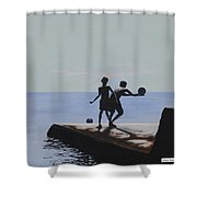 Groyne Series - What A Catch Shower Curtain