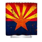 Grunge And Splatter Arizona Flag Shower Curtain