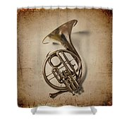 Grunge French Horn Shower Curtain
