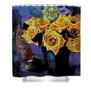 Grunge Friendship Rose Bouquet With Candle By Lisa Kaiser Shower Curtain