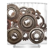Grunge Gear Cog Wheels Mechanism Isolated On White Shower Curtain