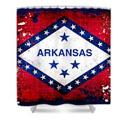 Grunge Style Arkansas Flag Shower Curtain