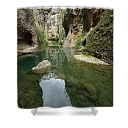 Guadalevin River At El Tajo Gorge From The Bottom Of The Secret  Shower Curtain