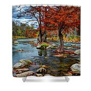 Guadalupe River In Autumn Shower Curtain
