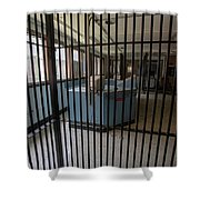 Guard Desk Inside Prison Cellblock Shower Curtain