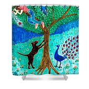 Guard Dog And Guard Peacock  Shower Curtain