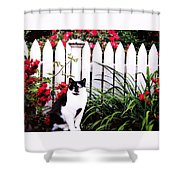 Guarding The Rose Garden Shower Curtain