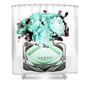 Gucci Blue Perfume Shower Curtain