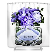 Gucci Perfume With Flower Shower Curtain