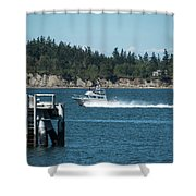 Guemes Island And Fishing Boat Shower Curtain