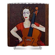 Guilhermina Suggia - Woman Cellist Of Fire Shower Curtain