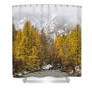 Guisane Valley In Autumn - French Alps Shower Curtain