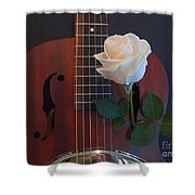 Guitar And Rose 2 Shower Curtain