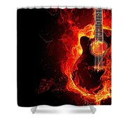 Guitar On Fire Shower Curtain