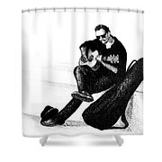 Guitarist Playing On The Street. Drawing Illustration Shower Curtain