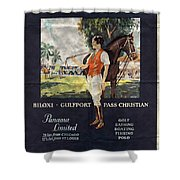 Gulf Coast - Illinois Central - Vintage Poster Folded Shower Curtain