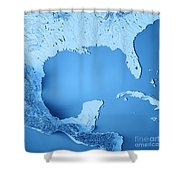 Gulf Of Mexico 3d Render Topographic Map Blue Poster