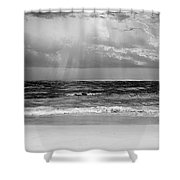 Gulf Of Mexico In Black And White Shower Curtain