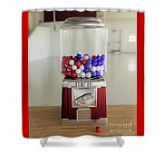 Gumball Red White And Blue Shower Curtain