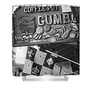 Gumbo Sign - Black And White Shower Curtain