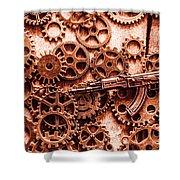 Guns Of Machine Mechanics Shower Curtain