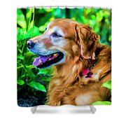 Gus In Flower Bed 10357t2a Shower Curtain