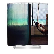 Guy With The Hat Lying In A Hammock On The Porch Of The Old House And Relaxing By The Caribbean Sea Shower Curtain
