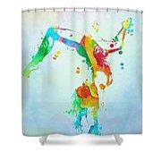 Gymnast Watercolor Paint Splatter Shower Curtain