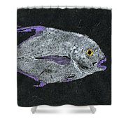 Gyotaku African Pompano Shower Curtain by Captain Warren Sellers
