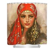 Gypsy Girl Portrait Shower Curtain