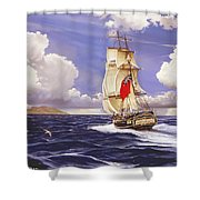 H. M. S. Bounty At Tahiti Shower Curtain