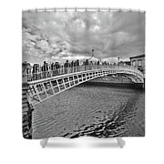 Ha' Penny Bridge In Black And White Shower Curtain