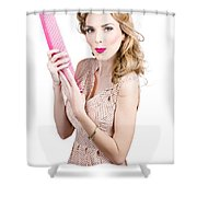 Hair Style Model. Pinup Girl With Large Pink Comb Shower Curtain