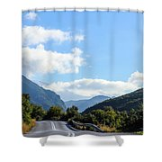 Hairpin Curve On Greek Mountain Road Shower Curtain