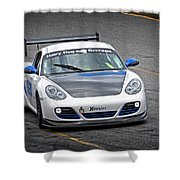 Hairy Dog Garrrage - Porsche - Pit Lane Shower Curtain