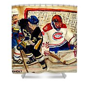 Halak Catches The Puck Stanley Cup Playoffs 2010 Shower Curtain
