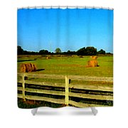 Hale Bales In Late Summer Shower Curtain