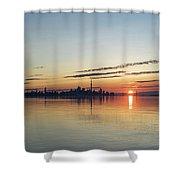 Half A Sunrise - Toronto Skyline From Across Silky Calm Lake Ontario Shower Curtain