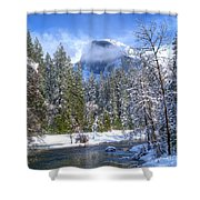 Half Dome And The Merced River Shower Curtain