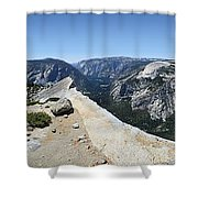 Half Dome And Yosemite Valley From The Diving Board - Yosemite Valley Shower Curtain