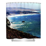 Half Moon Bay Shower Curtain by Karen Wiles