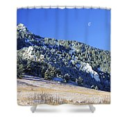 Half Moon Over The Flatirons Shower Curtain