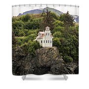 Halibut Cove Lighthouse Shower Curtain